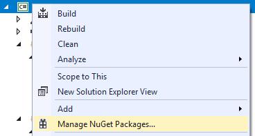 Manage NuGet Packages menu in Visual Studio